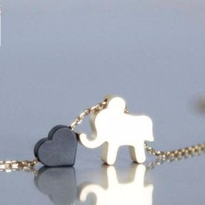 Elephant & Black Heart Necklace/bracelet, Handmade